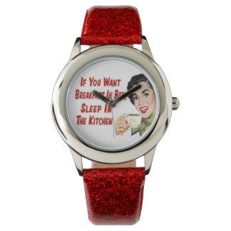 """レトロ1950の幸せな主婦の""""朝食""""の腕時計(赤い) 腕時計"""