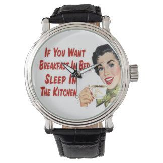 """レトロ1950の幸せな主婦の""""朝食""""の腕時計(Blk) 腕時計"""
