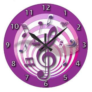 レトロ3D効果のピンクの音符 ラージ壁時計