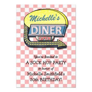 レトロ50sダイナーのソックスのホツプの誕生会のテーマ カード