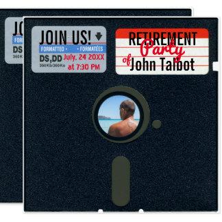 レトロ5.25のフロッピー・ディスク退職パーティーの招待 カード