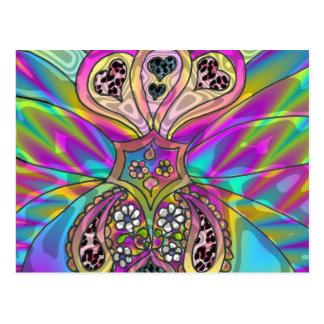 レトロ60sのサイケデリックなハートの花のギフトの服装 ポストカード