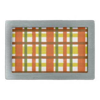 レトロ70sのオレンジ黄色の格子縞 長方形ベルトバックル
