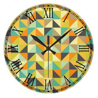 レトロ70sパターン ラージ壁時計
