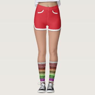 レトロ80sの赤いスポーツは足のウォーマーのレギンスをショートさせます レギンス