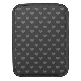 レトロ80sフランネルの灰色の泡ハートのemoパターン iPadスリーブ