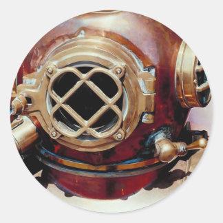 レトロ|潜水|ヘルメット 丸形シールステッカー