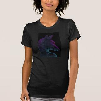 レトロ、紫色オオカミネオンTシャツ、 Tシャツ