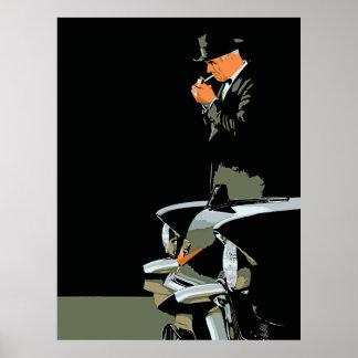 レトロ、黒く、黒いキャデラックの人 ポスター