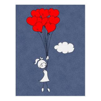 レトロI愛バレンタインデーのハート ポストカード