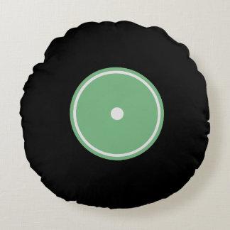 レトロLPのレコード|の緑の円形のクッション ラウンドクッション