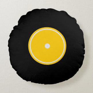 レトロLPのレコード|の黄色い円形のクッション ラウンドクッション