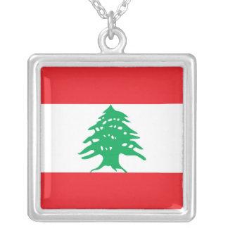 レバノンの旗が付いているエレガントなネックレス シルバープレートネックレス