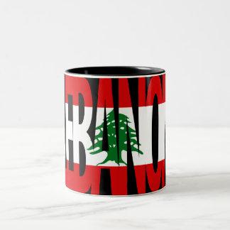 レバノンの旗のロゴのマグ ツートーンマグカップ