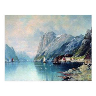 レフLagorioでノルウェーの絵画のフィヨルド ポストカード