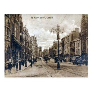レプリカのヴィンテージのイメージ、カーディフ、St Maryの通り ポストカード