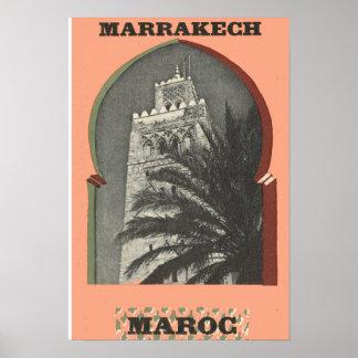 レプリカのヴィンテージのイメージ、マラケシュ、Maroc ポスター