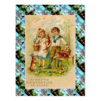 レプリカのヴィンテージのイースターカード、子供および卵 ポストカード