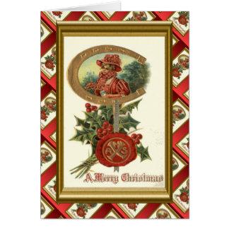 レプリカのヴィンテージのクリスマス、Decoの女性の蹄鉄、 カード