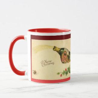レプリカのヴィンテージのクリスマス、Decoシャンペンのボトル マグカップ