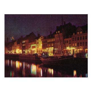 レプリカのヴィンテージデンマーク、夜までにコペンハーゲン ポストカード