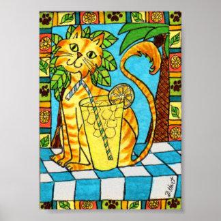 レモネードの小型民芸の黄色い虎猫猫及びガラス ポスター