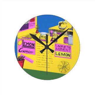 レモネード立場の鮮やかで、精巧なイラストレーション ラウンド壁時計