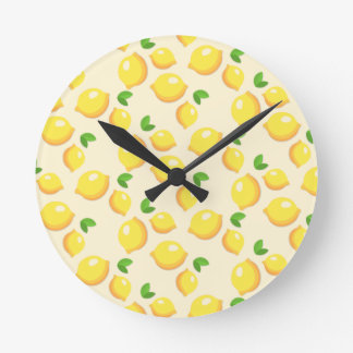 レモネード-甘く黄色いレモンプリント--を作って下さい ラウンド壁時計