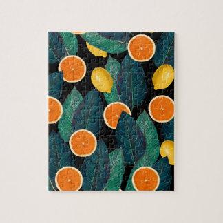レモンおよびオレンジの黒 ジグソーパズル