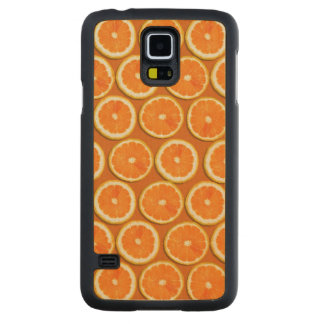 レモンはパターンをスライスします CarvedメープルGalaxy S5スリムケース