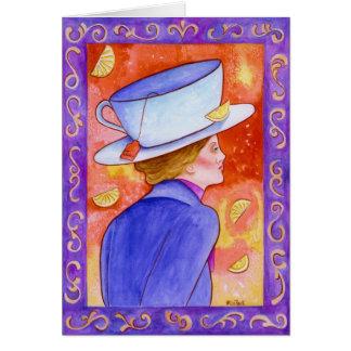 レモンを持つ茶女性 カード