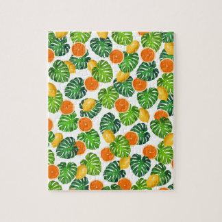レモンオレンジのmonsteraの白 ジグソーパズル