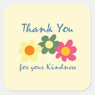 レモンシフォンは花のステッカー感謝していしています スクエアシール