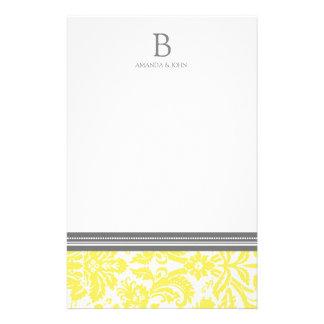 レモンダマスク織の結婚式のモノグラムの文房具 便箋