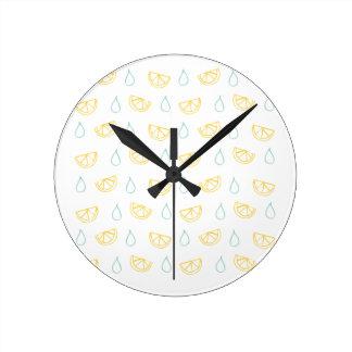 レモンドロップパターン ラウンド壁時計