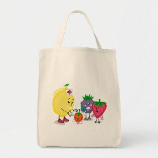 レモン援助のデザインの食料雑貨の戦闘状況表示板 トートバッグ