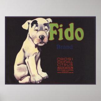 レモン木枠のラベルのプリントのかわいい犬が付いているポスター ポスター