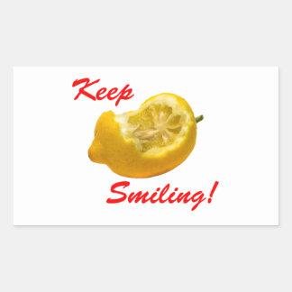 レモン構成は微笑を保ちます! 長方形シール・ステッカー