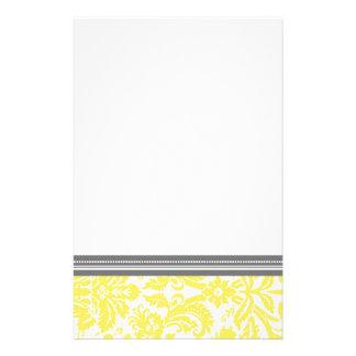 レモン灰色のダマスク織パターン文房具 便箋