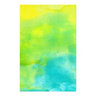 レモン色および青緑の水彩画 便箋