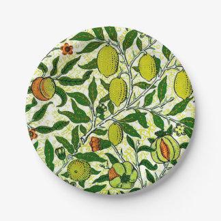 レモン色のウィリアム・モリスのエキゾチックなフルーツ ペーパープレート