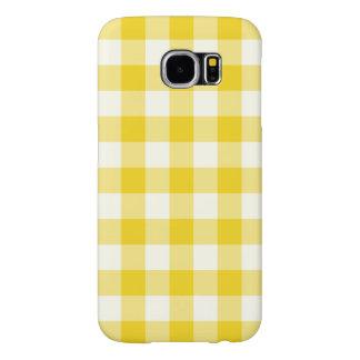レモン色のギンガムの銀河系S6の箱 SAMSUNG GALAXY S6 ケース