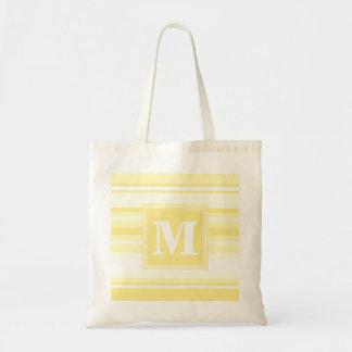 レモン色のモノグラムは縞で飾ります トートバッグ