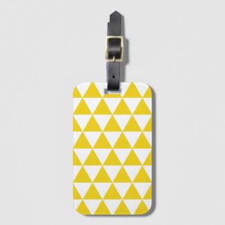 レモン色の三角形パターン手荷物のラベル ラゲッジタグ