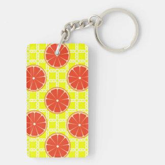 レモン色の正方形の明るい夏のグレープフルーツ キーホルダー