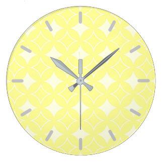 レモン色のshippoパターン ラージ壁時計