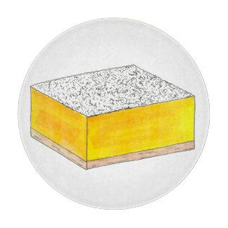 レモン角形材のペストリーのデザートは販売の黄色を焼きます カッティングボード