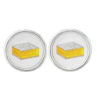 レモン角形材のペストリーのデザートは販売の黄色を焼きます カフスボタン