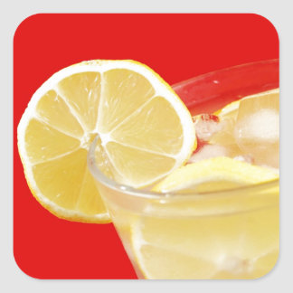 レモン飲み物のデザイン スクエアシール