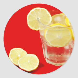 レモン飲み物のデザイン ラウンドシール